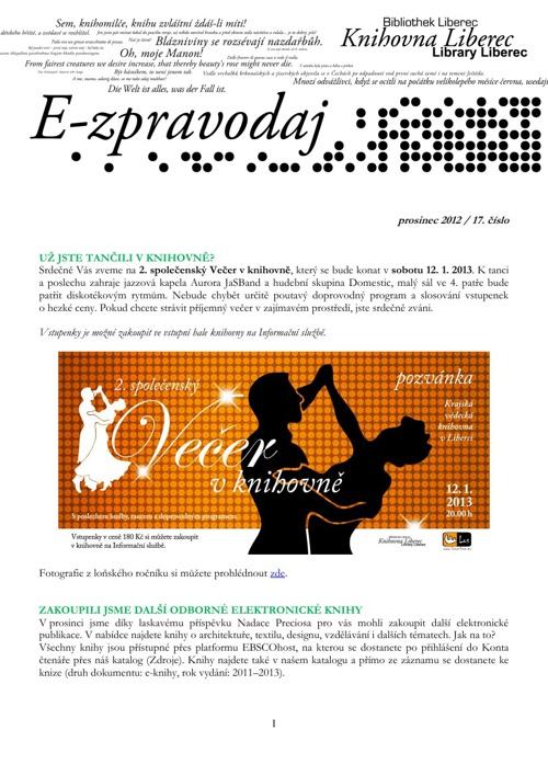 E-zpravodaj - 1. prosinec 2012/17. číslo
