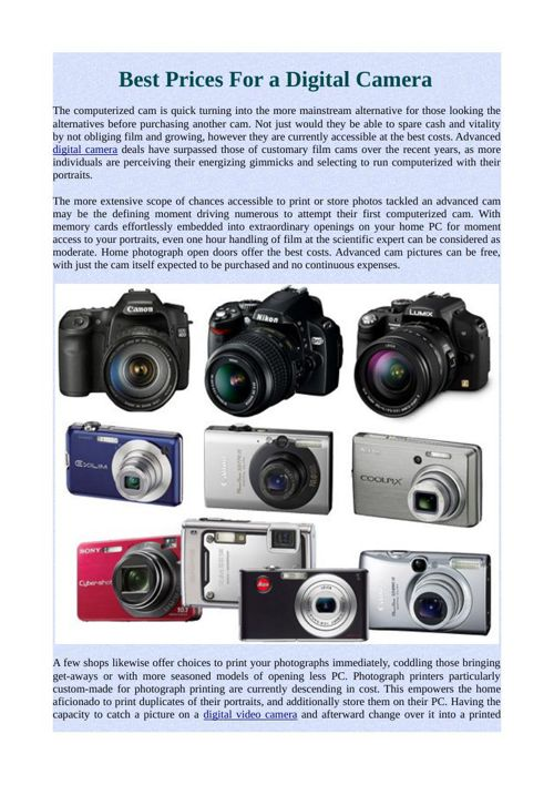 Best Prices For a Digital Camera