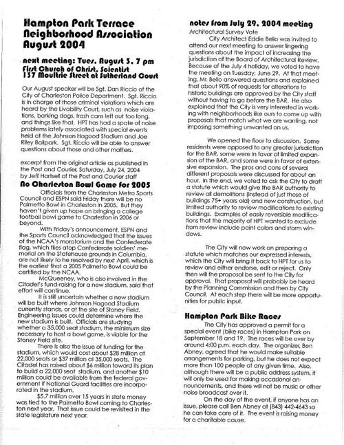 HPT Newsletter August 2004