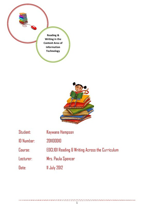 Task 4 Booklet Reading & Writing in the Content Area