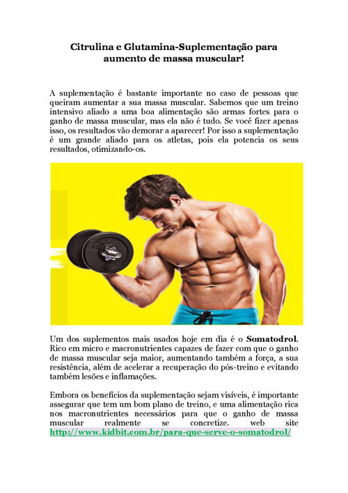 Citrulina e Glutamina-Suplementação para aumento de massa muscul