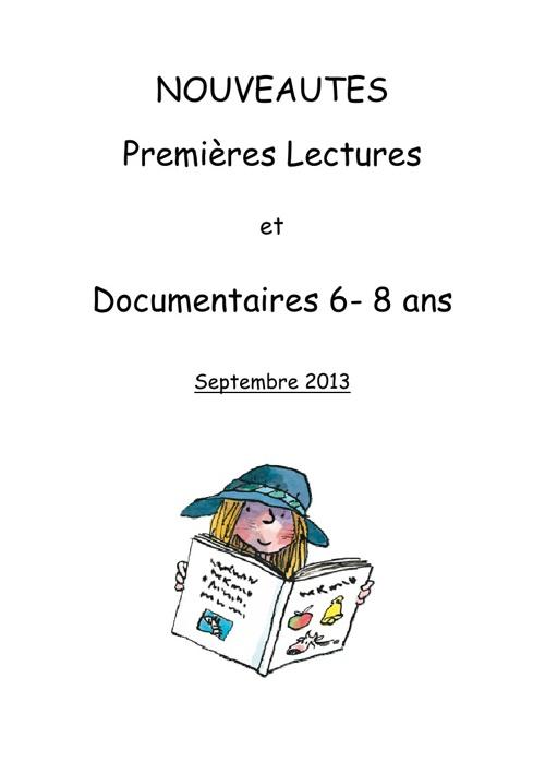 Nouveautés premières lectures sept 2013