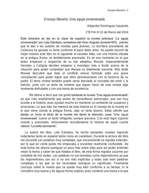 ensayo literario alejandro dominguez 2°B