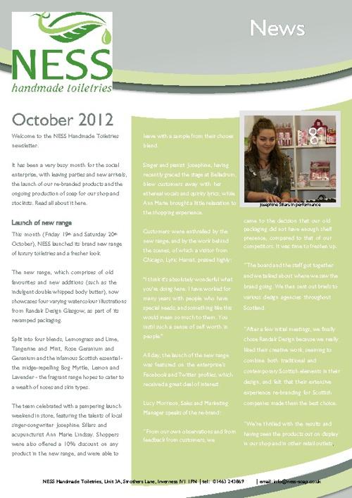 NESS Handmade Toiletries October Newsletter