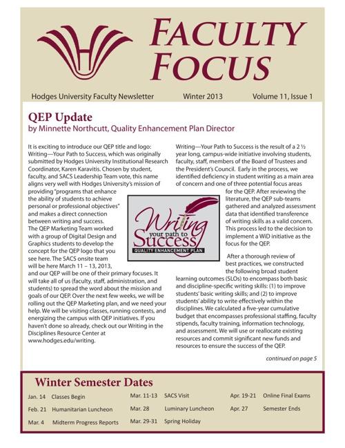 Faculty Focus - Winter 2013