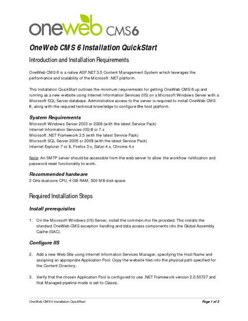 OneWeb CMS 6 Installation Guide