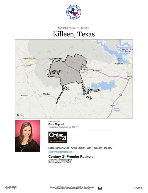 Market Activity Report for Killeen, TX as of Feb. 13, 2017