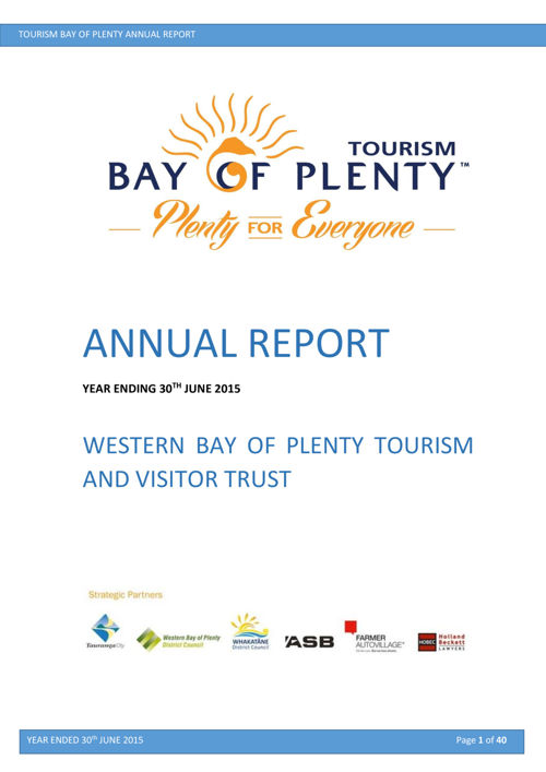 Tourism Bay of Plenty Annual Report 2015