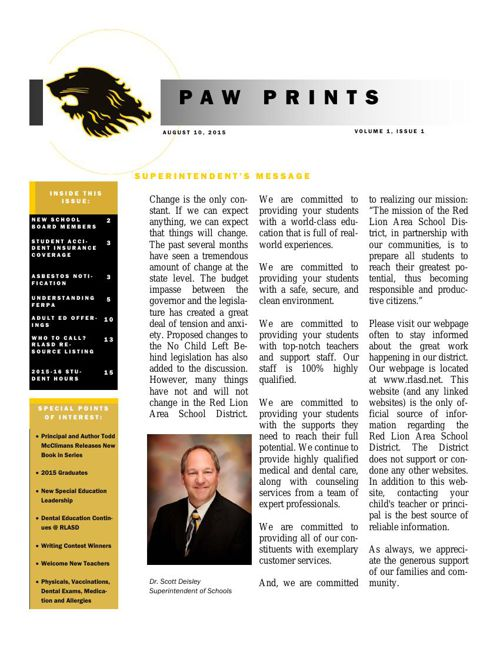 August 2015 PAW PRINTS