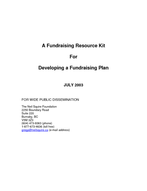 A Fundraising Resource Kit for Developing a Fundraising Plan