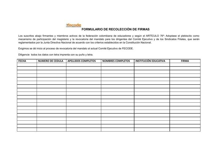 RECOLECCION DE FIRMAS