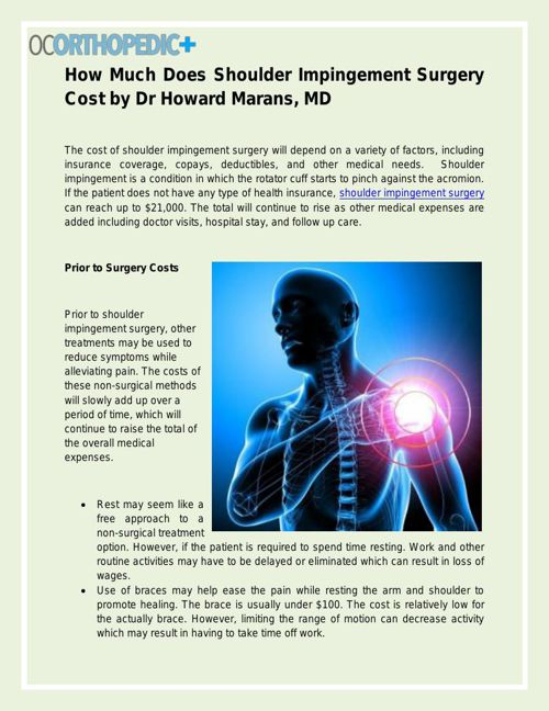 How Much Does Shoulder Impingement Surgery Cost - Dr Howard Mars