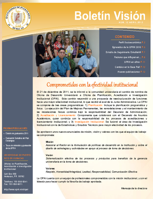 Boletín Visión 2012