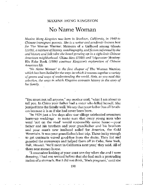 No Name Woman