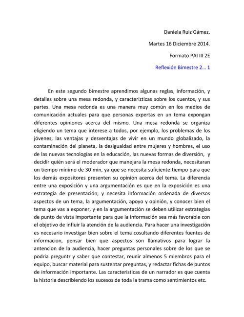 reflexion de español dany