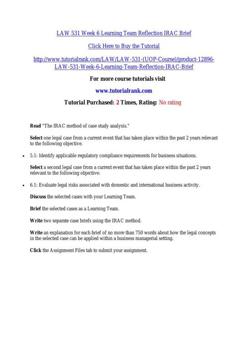 law 531 week6 We specialize in providing you instant exam help to score the marks you have always dreamed get online help for the uop business law 531 week 6 final exam question answers (university of phoenix).