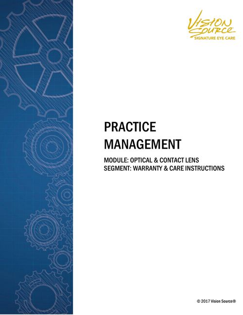 Practice Management_Warranty and Eyewear Care Instructions_In Te