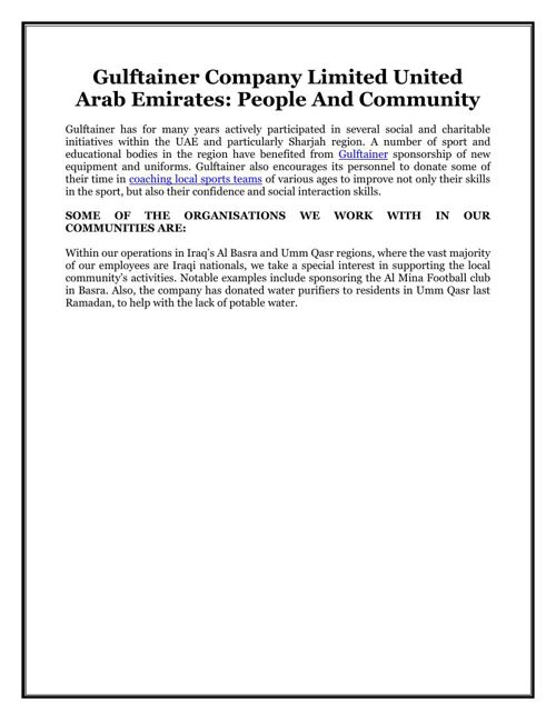 Gulftainer Company Limited United Arab Emirates: People And Comm