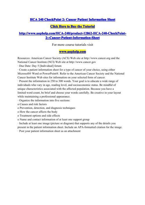 HCA 240 CheckPoint 2 Cancer Patient Information Sheet