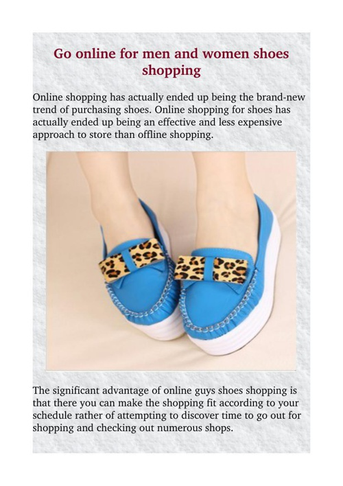 Go online for men and women shoes shopping