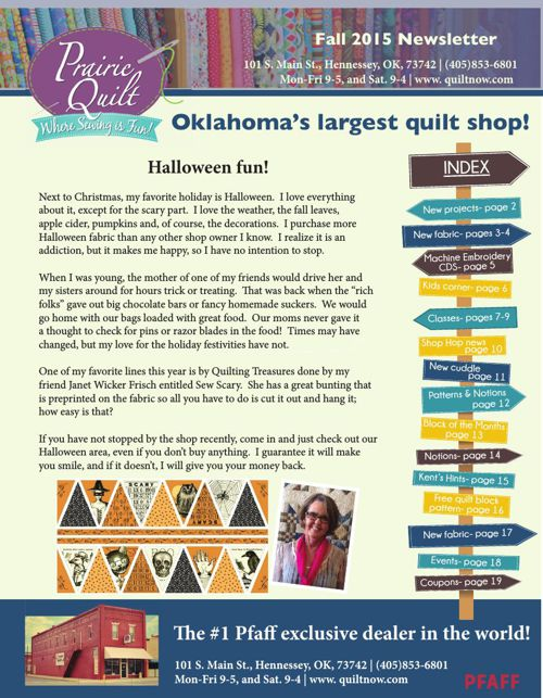 Prairie Quilt Fall newsletter (Sept 2015)