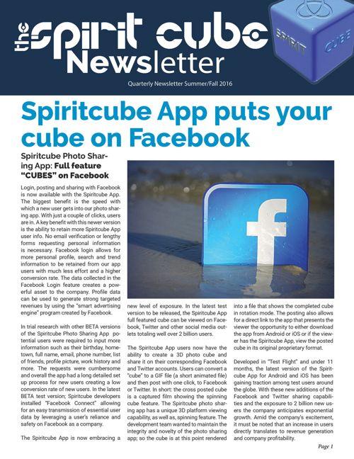 Spiritcube Newsletter 2016 Fall/Winter