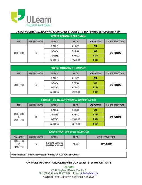 ULearn Pricing-2014