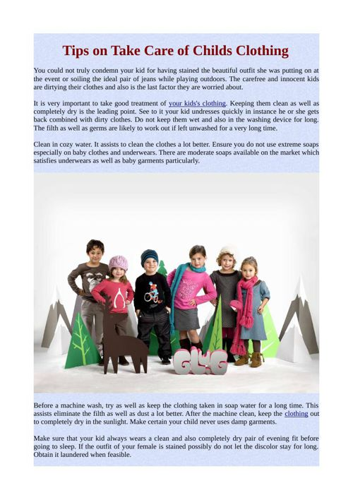 Tips on Take Care of Childs Clothing