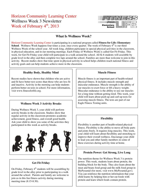 Wellness Week Newsletter (3rd Quarter) 2012-2013