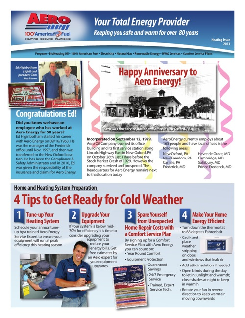 Aero Energy - Fall E-Newsletter 2013