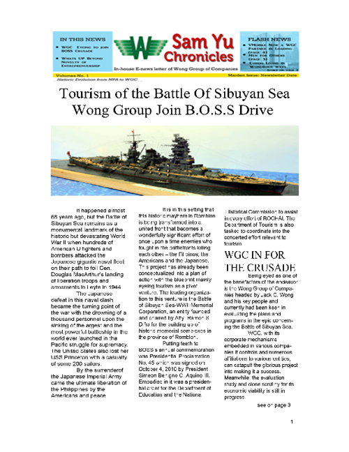 WGC Sam Yu Chronicles News Letter 1