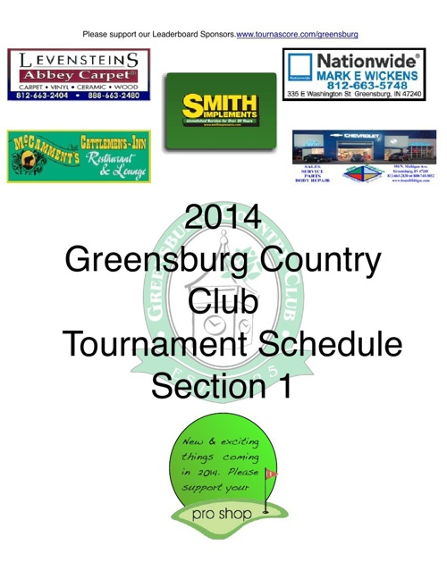 2014 Comprehensive Tournament Schedule Section 1