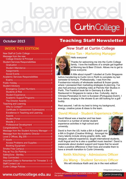 Teaching Staff Newsletter