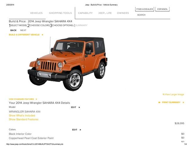 Jeep - Build & Price - Vehicle Summary