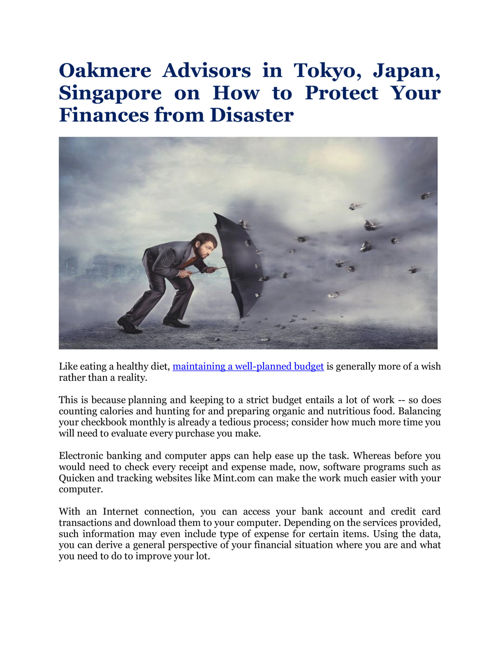 Oakmere Advisors in Tokyo, Japan,Singapore on How to Protect