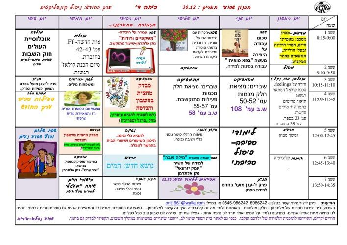 Copy of תכנון שבועי כיתה ד