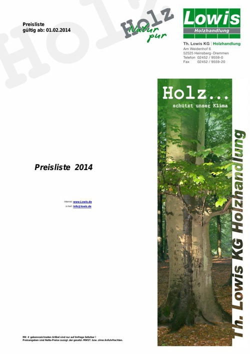 Th. Lowis KG Preisliste 2014