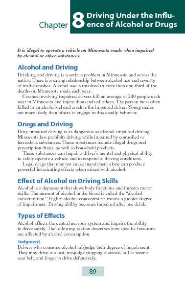 MN Dept. of Public Safety Driver Manual: Chapter 8