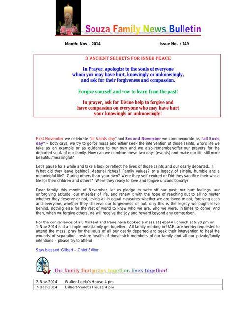 SouzaFamilyNewsBulletin-November 2014 new