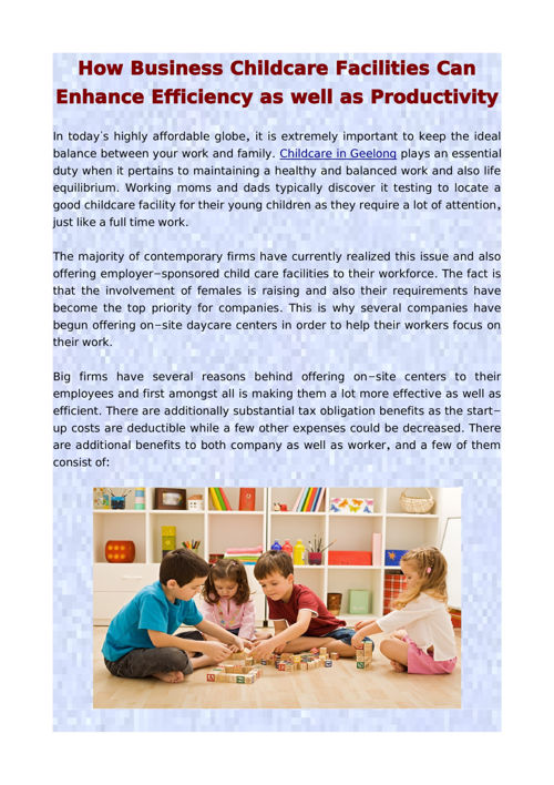 How Business Childcare Facilities Can Enhance Efficiency as