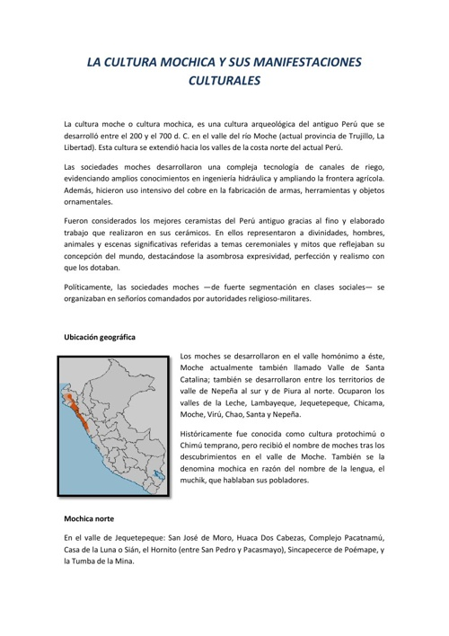 LA CULTURA MOCHICA Y SUS MANIFESTACIONES CULTURALES