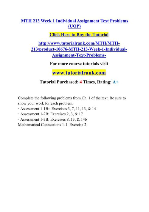 MTH 213 Academic Professor / tutorialrank.com