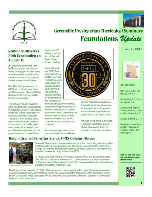 Foundations Update Newsletter No. 2, 2016