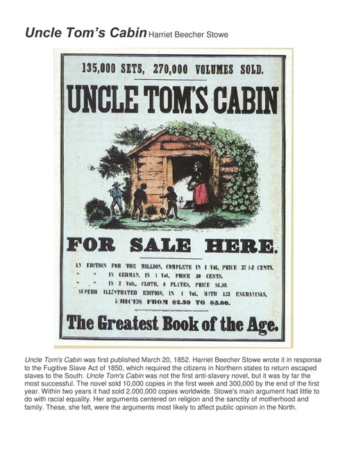 Uncle Tom's Cabin Activity