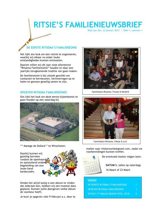 Ritsie's Familie Nieuwsbrief 2013