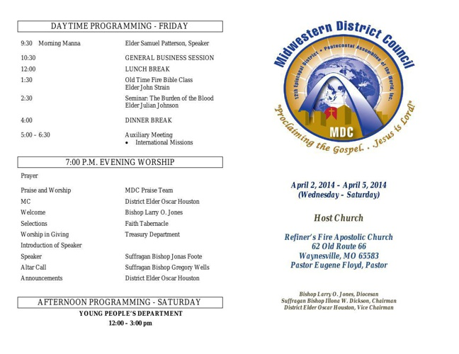 Midwestern District Council April 2014 Council Schedule