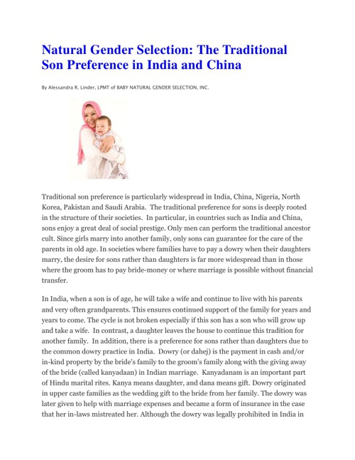 Natural Gender Selection: The Traditional Son Preference in Indi