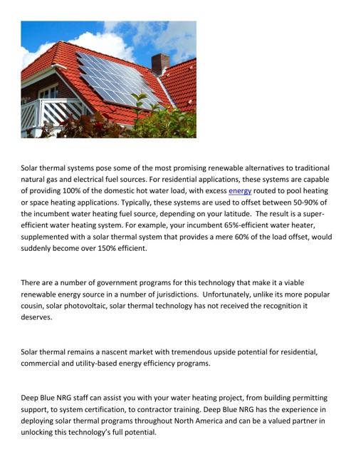Deep Blue NRG Group: Solar Thermal