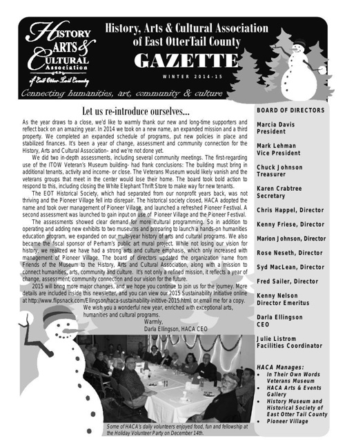 History, Arts and Cultural Association Newsletter Winter 14-15