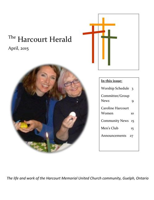 CurrentHH the monthly newsletter of Harcourt United church